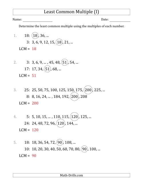 The Least Common Multiple from Multiples of Numbers to 25 (I) Math Worksheet Page 2
