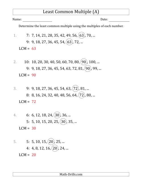 The Least Common Multiple from Multiples of Numbers to 10 (LCM Not Numbers) (A) Math Worksheet Page 2