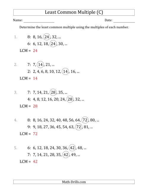 The Least Common Multiple from Multiples of Numbers to 10 (LCM Not Numbers) (C) Math Worksheet Page 2