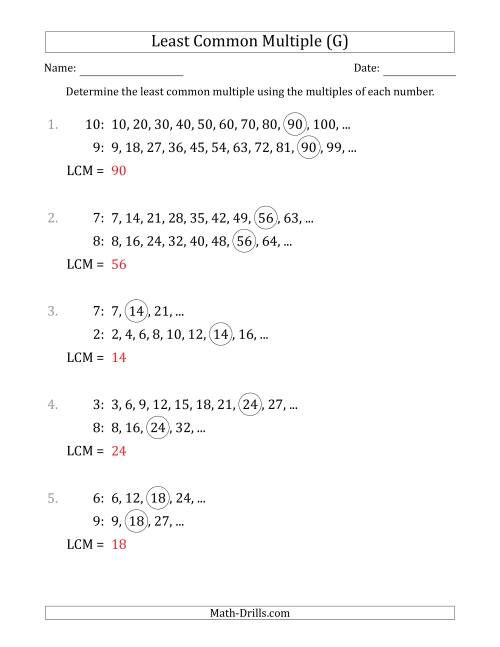 The Least Common Multiple from Multiples of Numbers to 10 (LCM Not Numbers) (G) Math Worksheet Page 2