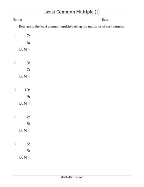 The Least Common Multiple from Multiples of Numbers to 10 (LCM Not Numbers) (I) Math Worksheet