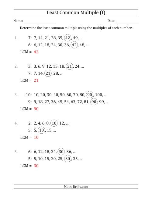 The Least Common Multiple from Multiples of Numbers to 10 (LCM Not Numbers) (I) Math Worksheet Page 2