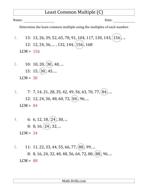 The Least Common Multiple from Multiples of Numbers to 15 (LCM Not Numbers) (C) Math Worksheet Page 2