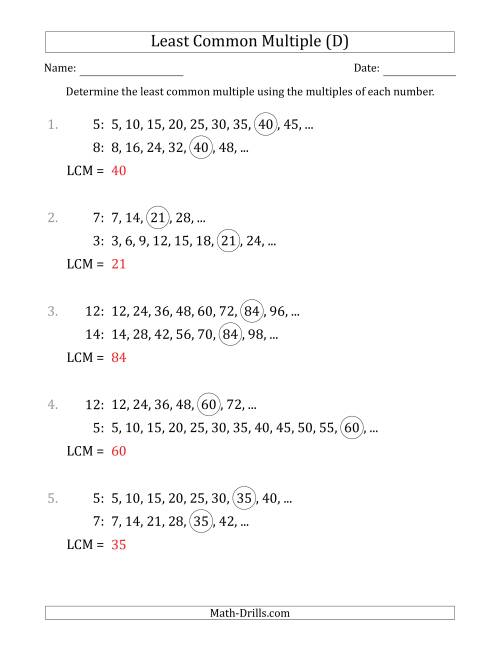 The Least Common Multiple from Multiples of Numbers to 15 (LCM Not Numbers) (D) Math Worksheet Page 2