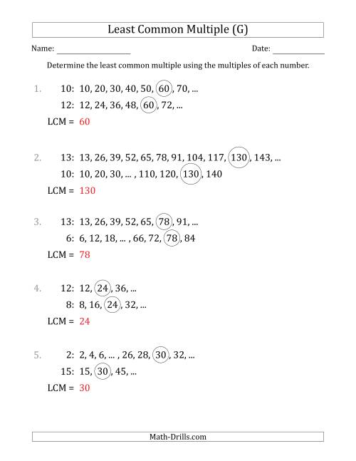 The Least Common Multiple from Multiples of Numbers to 15 (LCM Not Numbers) (G) Math Worksheet Page 2