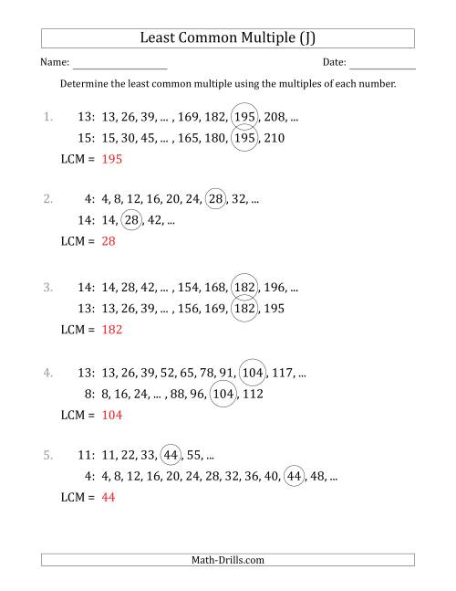 The Least Common Multiple from Multiples of Numbers to 15 (LCM Not Numbers) (J) Math Worksheet Page 2