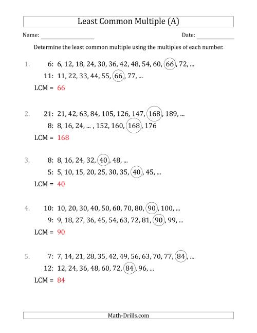 The Least Common Multiple from Multiples of Numbers to 25 (LCM Not Numbers) (A) Math Worksheet Page 2