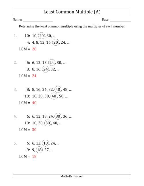 The Least Common Multiple from Multiples of Numbers to 10 (LCM Not Numbers or Product) (A) Math Worksheet Page 2