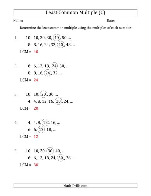 The Least Common Multiple from Multiples of Numbers to 10 (LCM Not Numbers or Product) (C) Math Worksheet Page 2