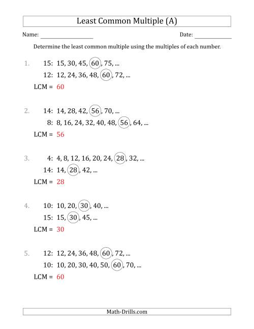 The Least Common Multiple from Multiples of Numbers to 15 (LCM Not Numbers or Product) (A) Math Worksheet Page 2