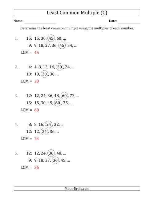The Least Common Multiple from Multiples of Numbers to 15 (LCM Not Numbers or Product) (C) Math Worksheet Page 2