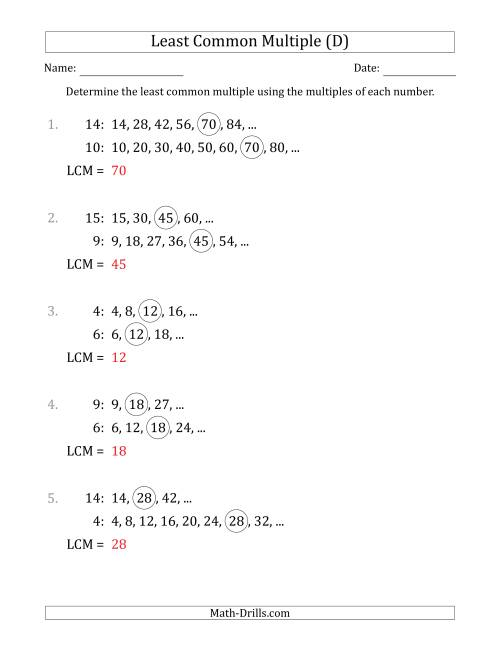 The Least Common Multiple from Multiples of Numbers to 15 (LCM Not Numbers or Product) (D) Math Worksheet Page 2