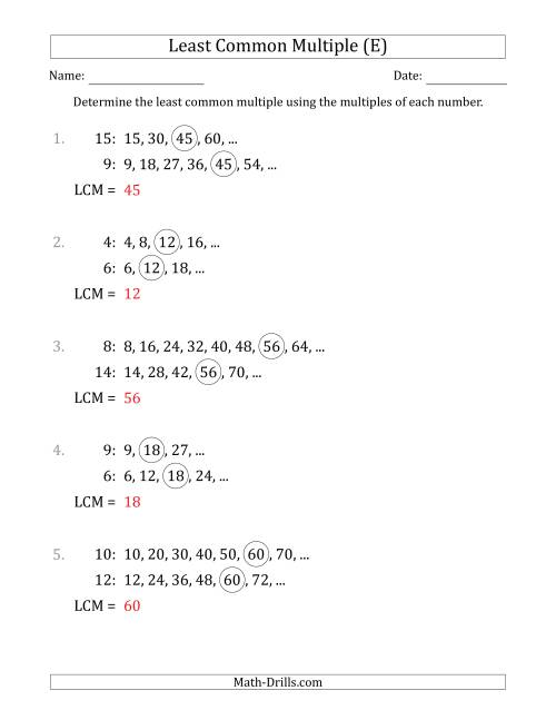 The Least Common Multiple from Multiples of Numbers to 15 (LCM Not Numbers or Product) (E) Math Worksheet Page 2