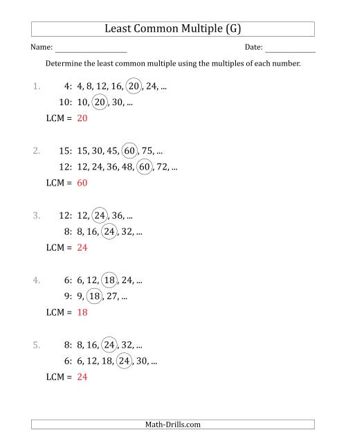 The Least Common Multiple from Multiples of Numbers to 15 (LCM Not Numbers or Product) (G) Math Worksheet Page 2