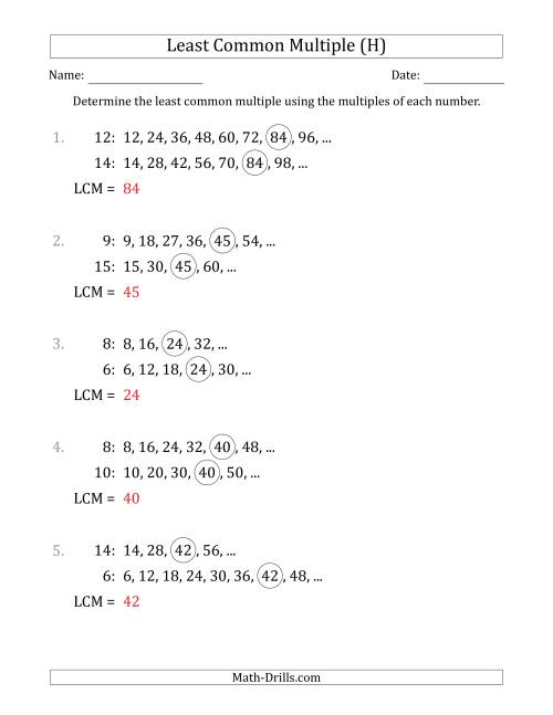 The Least Common Multiple from Multiples of Numbers to 15 (LCM Not Numbers or Product) (H) Math Worksheet Page 2
