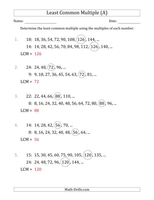 The Least Common Multiple from Multiples of Numbers to 25 (LCM Not Numbers or Product) (A) Math Worksheet Page 2