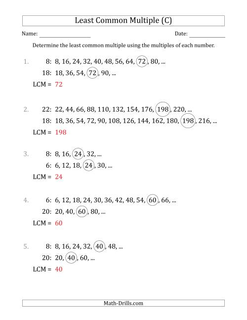The Least Common Multiple from Multiples of Numbers to 25 (LCM Not Numbers or Product) (C) Math Worksheet Page 2
