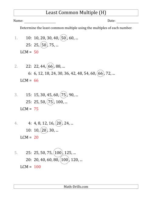 The Least Common Multiple from Multiples of Numbers to 25 (LCM Not Numbers or Product) (H) Math Worksheet Page 2