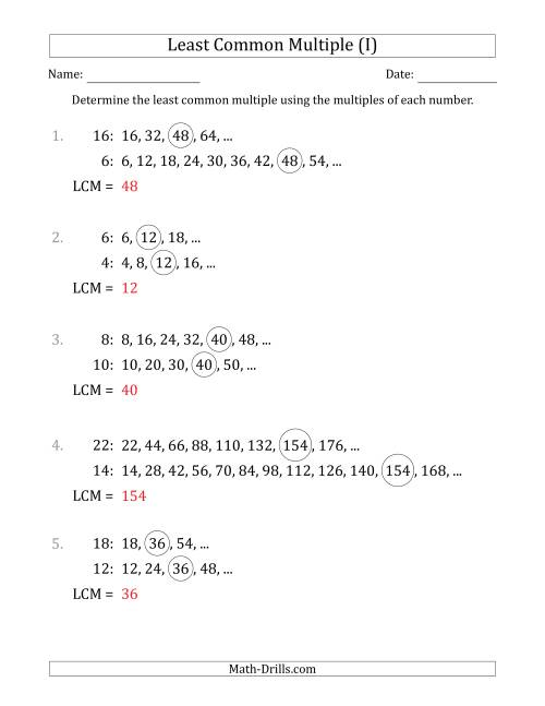 The Least Common Multiple from Multiples of Numbers to 25 (LCM Not Numbers or Product) (I) Math Worksheet Page 2