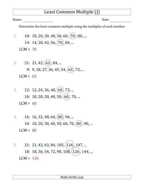 The Least Common Multiple from Multiples of Numbers to 25 (LCM Not Numbers or Product) (J) Math Worksheet Page 2