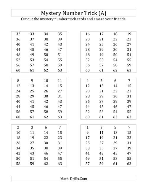 Mystery Number Trick A – Mystery Worksheets