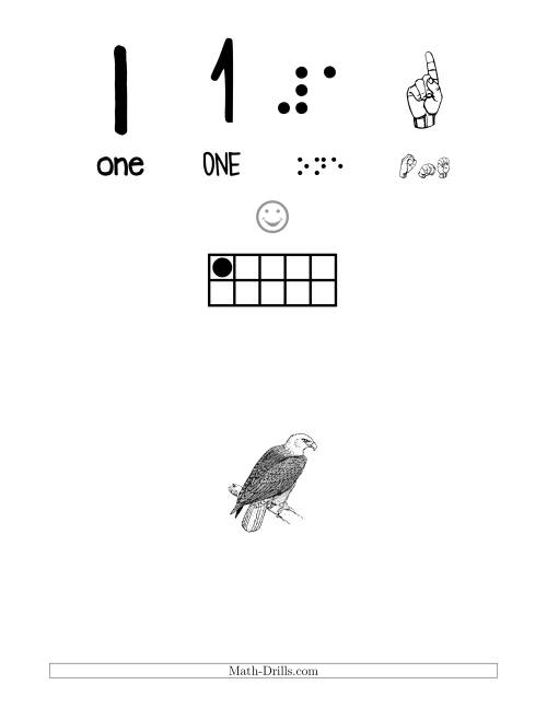 The Number 1 Recognition Poster with a Bird Theme (1) Math Worksheet