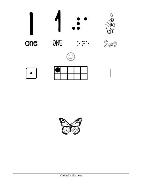 The Number 1 Recognition Poster with a Butterfly Theme (1) Math Worksheet
