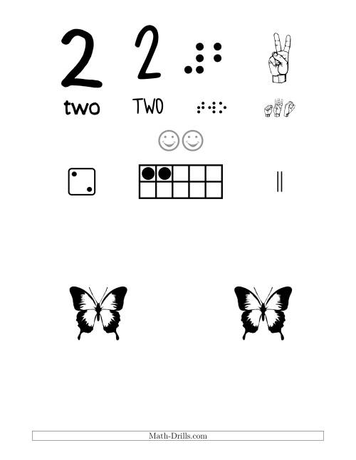 The Number 2 Recognition Poster with a Butterfly Theme (2) Math Worksheet