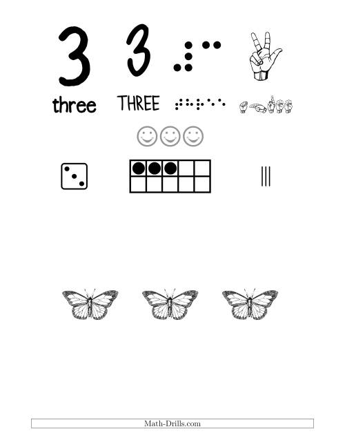 The Number 3 Recognition Poster with a Butterfly Theme (3) Math Worksheet