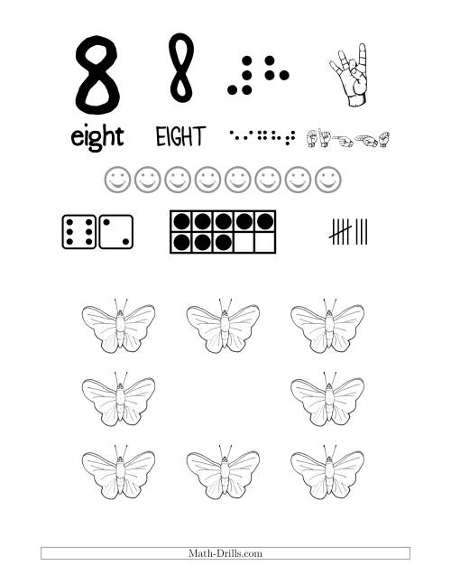 The Number 8 Recognition Poster with a Butterfly Theme (8) Math Worksheet