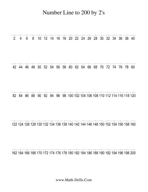 The Number Line to 200 Counting by 2 (2) Math Worksheet