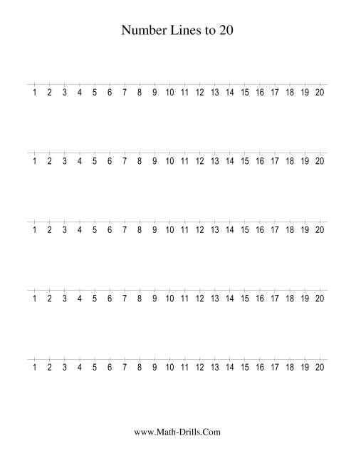 The Number Line to 20 Counting by 1 (1) Math Worksheet