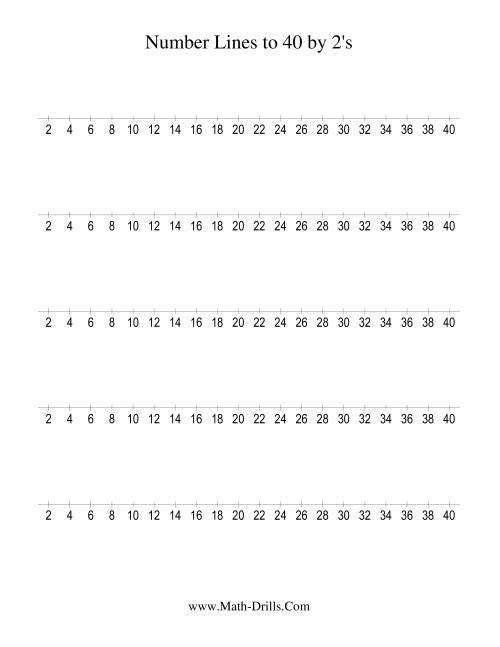 worksheet Number Line Printable number line to 40 counting by 2 2