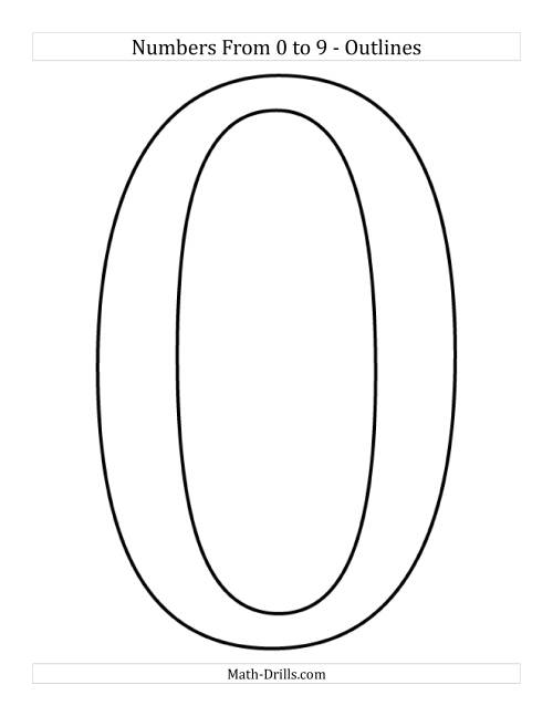 The Poster Sized Numbers from 0 to 9 in Outline (All) Math Worksheet