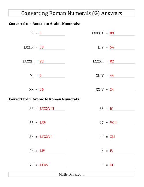 The Converting Compact Roman Numerals up to C to Standard Numbers (G) Math Worksheet Page 2