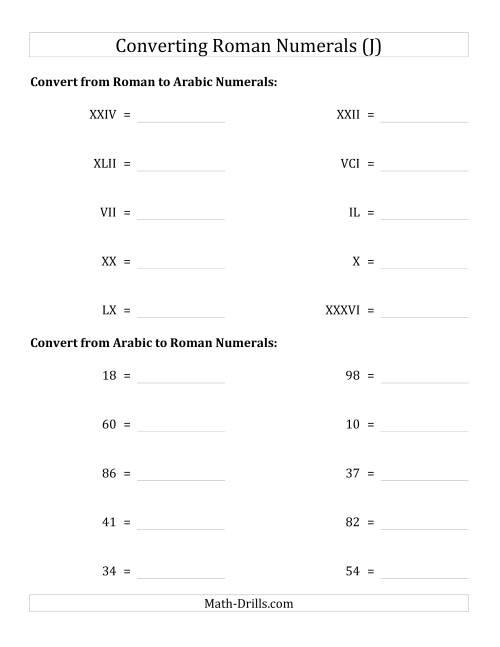 The Converting Compact Roman Numerals up to C to Standard Numbers (J) Math Worksheet