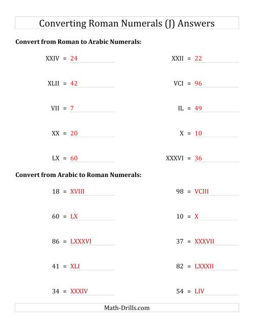The Converting Compact Roman Numerals up to C to Standard Numbers (J) Math Worksheet Page 2