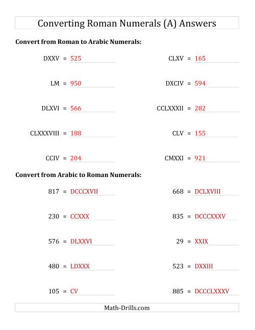 The Converting Compact Roman Numerals up to M to Standard Numbers (A) Math Worksheet Page 2