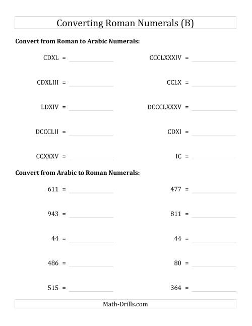The Converting Compact Roman Numerals up to M to Standard Numbers (B)