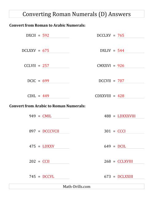 The Converting Compact Roman Numerals up to M to Standard Numbers (D) Math Worksheet Page 2