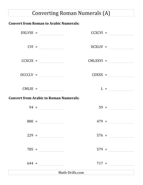 The Converting Roman Numerals up to M to Standard Numbers (A) Math Worksheet