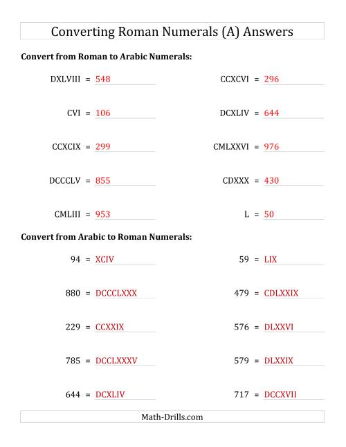 The Converting Roman Numerals up to M to Standard Numbers (A) Math Worksheet Page 2