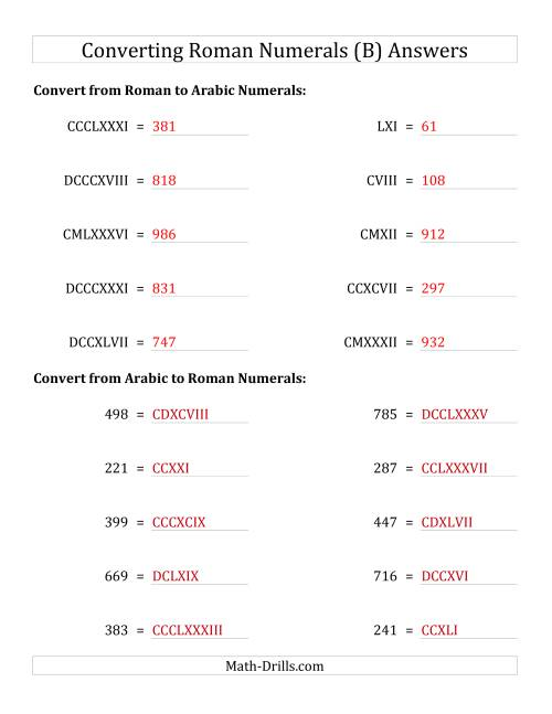 The Converting Roman Numerals up to M to Standard Numbers (B) Math Worksheet Page 2