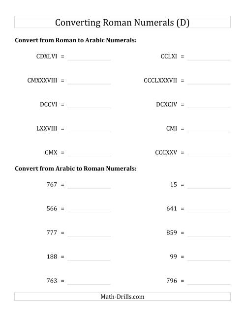The Converting Roman Numerals up to M to Standard Numbers (D) Math Worksheet