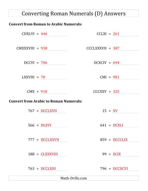 The Converting Roman Numerals up to M to Standard Numbers (D) Math Worksheet Page 2