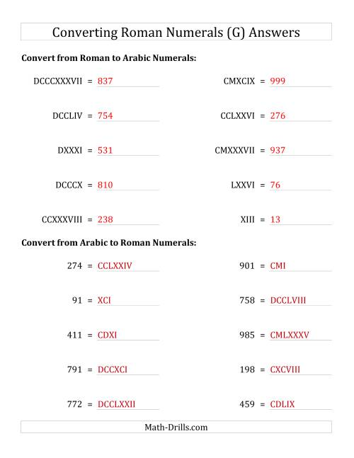 The Converting Roman Numerals up to M to Standard Numbers (G) Math Worksheet Page 2