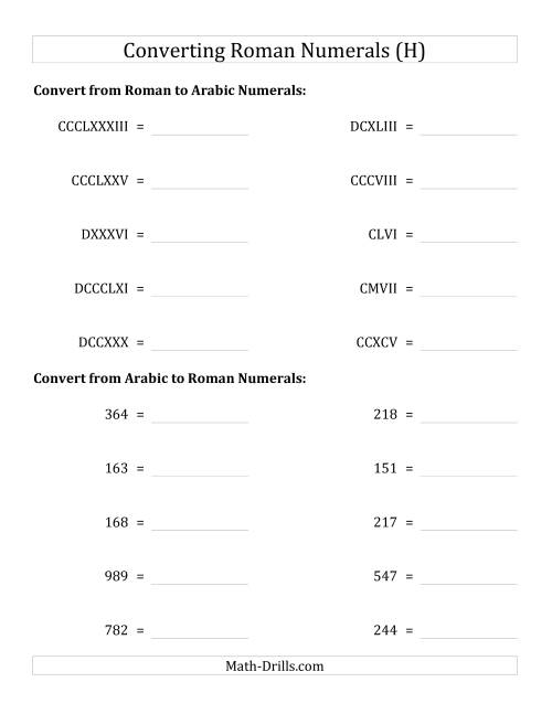 The Converting Roman Numerals up to M to Standard Numbers (H) Math Worksheet