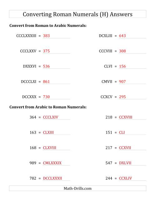 The Converting Roman Numerals up to M to Standard Numbers (H) Math Worksheet Page 2