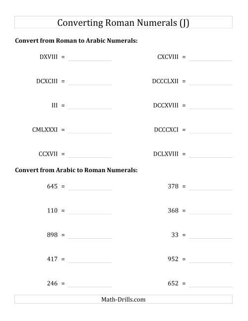The Converting Roman Numerals up to M to Standard Numbers (J) Math Worksheet