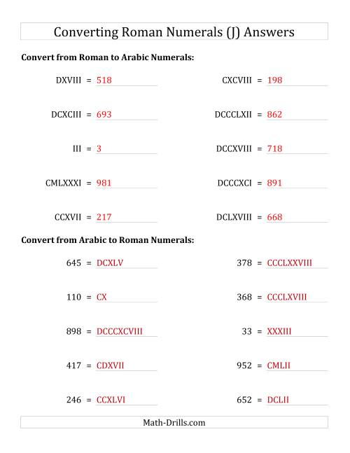 The Converting Roman Numerals up to M to Standard Numbers (J) Math Worksheet Page 2